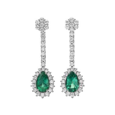 4 47 Carat Pear Shape Emerald Diamond Earrings