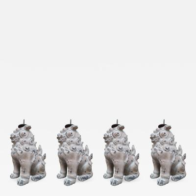 4 Coated Metal Lion Chandeliers China 19th Century