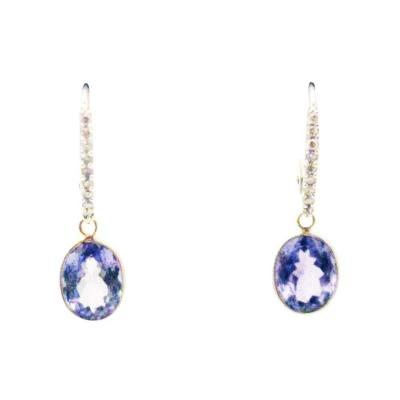 4CT Natural Tanzanite and Diamonds Earrings in 14KT White Gold