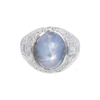 5 00 Carat Art Deco Violet Blue Star Sapphire Diamond Platinum Cocktail Ring