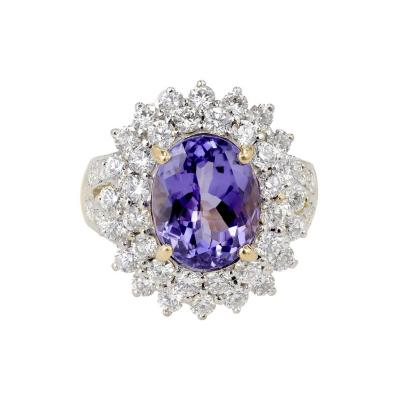 5 17 Carat Oval Purple Blue Tanzanite Diamond Gold Cocktail Ring