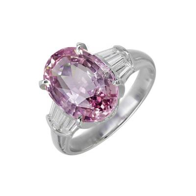 5 28 Carat Purple Pink Natural Sapphire Diamond Platinum Engagement Ring