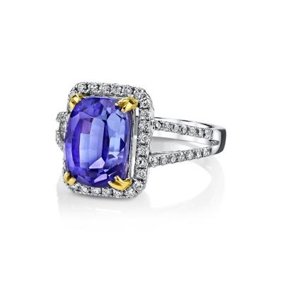 5 35 Carat Tanzanite and Diamonds 18 Karat White Gold Halo Ring