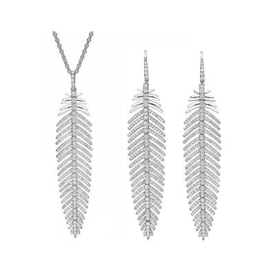 5 55 Carat Diamonds Feather Dangle Pendent and Earring Set