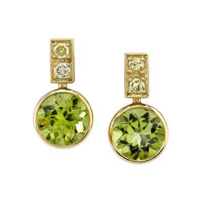 5 81 Carat Peridot and Diamond 18 Karat Yellow Gold Earrings