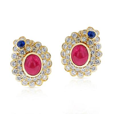 5 82 CT OVAL RUBY CABOCHON AND SAPPHIRE CABOCHON AND DIAMONDS EARRINGS