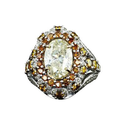 5 91 Carat Diamond Cocktail Dome Ring with 18 Karat White Gold