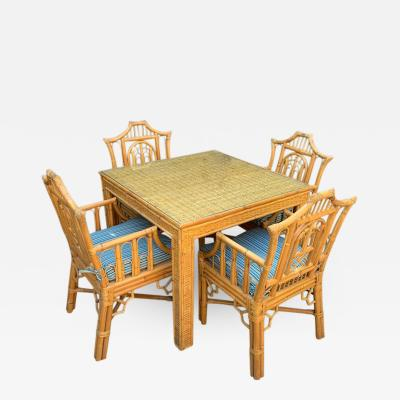 5 Piece Chinese Chippendale Style Bamboo Game Dining Table and Armchairs
