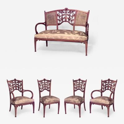 5 Piece French Art Nouveau Walnut Living Room Set