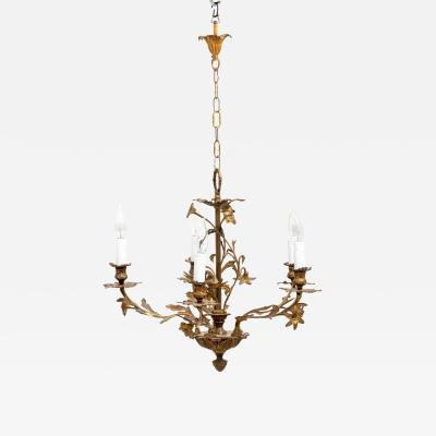 5 Stem Brass Chandelier
