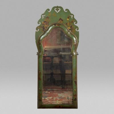 Opulent Green Lacquer Chinoiserie Mirror with Beveled Glass China 18th century