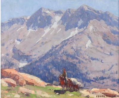 Edgar Alwin Payne A Rider with Packhorses in the Sierra A Sierra Lake
