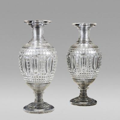 Monumental Pair Clear Cut Glass Vases about 1820