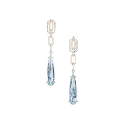6 00 Carat Pear Shaped Aqua Diamond Dangle Gold Earrings