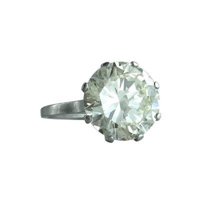 6 23 Carat Round Diamond Platinum French Solitaire