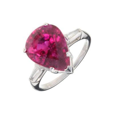 6 95 Carat Pear Shape Red Tourmaline Rubellite Diamond Platinum Cocktail Ring