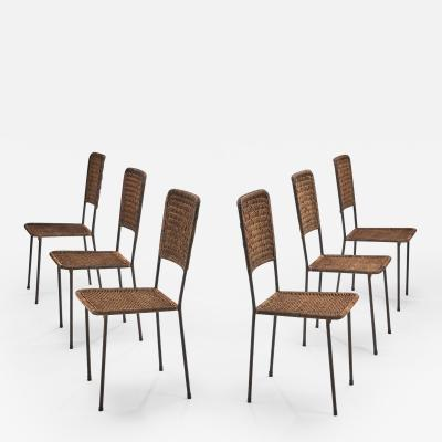 6 Iron and Rattan Chairs Brazil 1960s