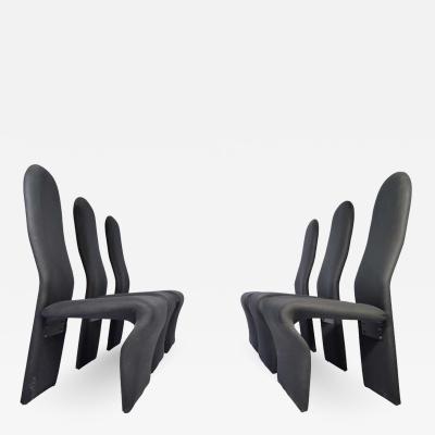 6 Jan Ekselius Style Hollywood Regency High Back Dining Chairs