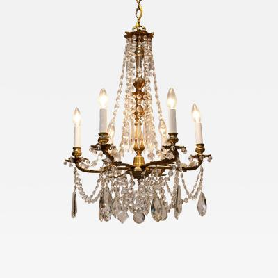 6 Light Rococo Style Brass and Crystal Chandelier Circa 1930 Sweden