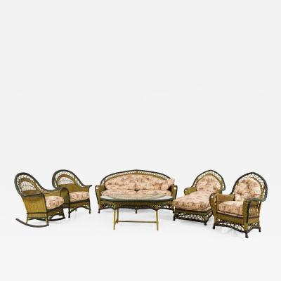 6 Pece American Art Deco Wicker Living Room Set