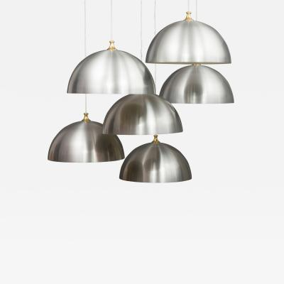 6 large polished aluminium mid century lamps