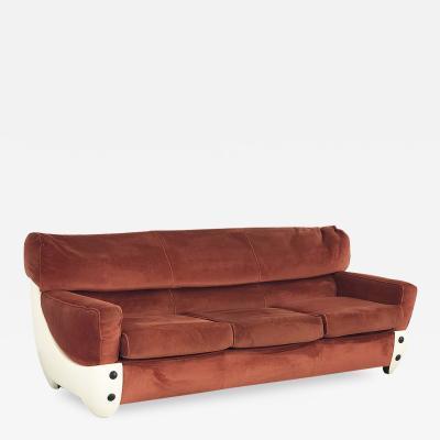 60s space age sofa in fiberglass and velvet