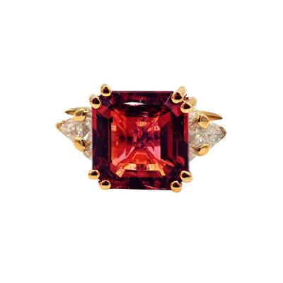 6CT Asscher Cut Padparadscha Pink Tourmaline Diamond Ring in 18 KT Yellow Gold