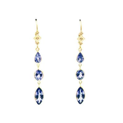 6CT Natural Tanzanite and Diamonds Line Earrings in 14KT Yellow Gold