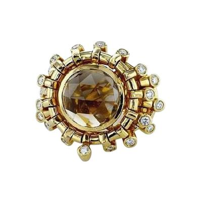 7 01 Carat Topaz Briollete and Diamond Ring
