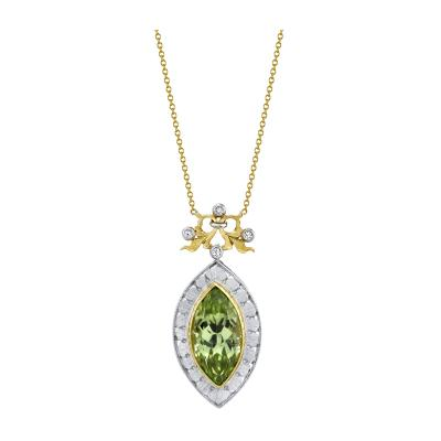 7 48 Carat Peridot and Diamond 18 Karat Yellow and White Gold Necklace