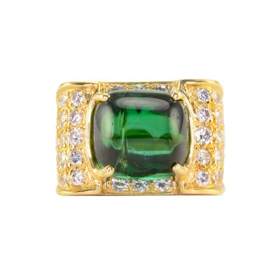 7 50 Carat Cabochon Green Tourmaline and Diamond Ring