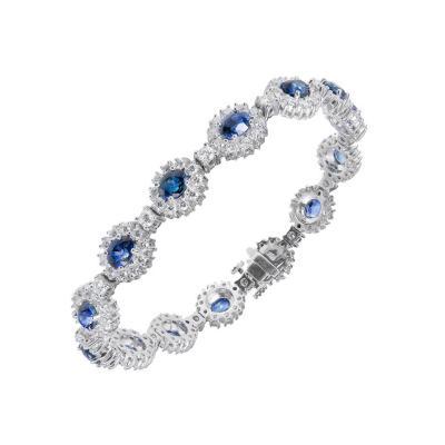 7 90 Carat GIA Certified Blue Sapphire Diamond Halo Gold Bracelet