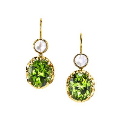 7 97 Carat Oval Peridot and Moonstone Cabochon 18 Karat Yellow Gold Earrings