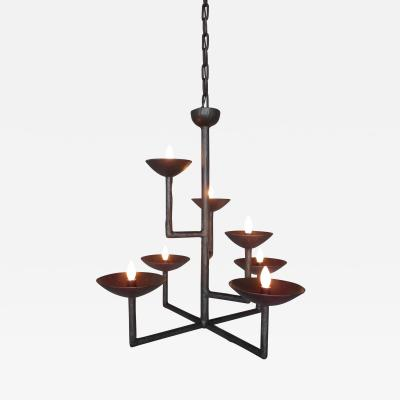 7 Cup Square Chandelier in Bronze with Half Round