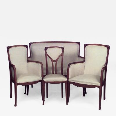 7 Piece French Art Nouveau Walnut Living Room Set