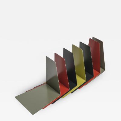 7 Soennecken colored metal book stands Germany 60s