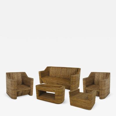 7 piece split Bamboo veneer 1970s salon set