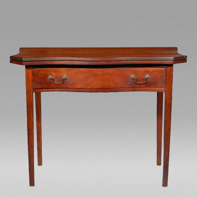 Cherry Serpentine Card Table with Long Drawer probably Connecticut c 1800