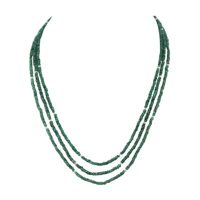 77 Carat Genuine Natural Emerald Faceted Beads Necklace with Pearls 14K Gold