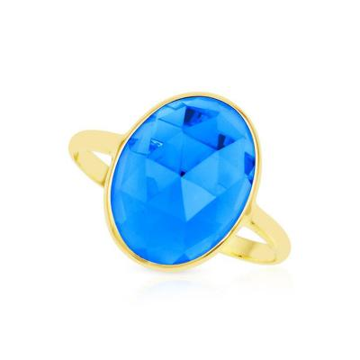 8 CT OVAL BLUE TOPAZ RING 18K YELLOW GOLD