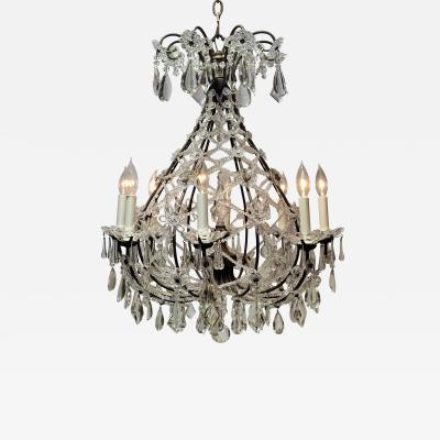 8 Light Beaded Crystal Balloon Chandelier Circa 1900 Italy