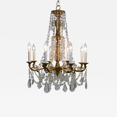 8 Light Rococo Style Brass Crystal Chandelier Circa 1930 Sweden