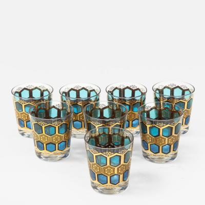 8 Mid Century Gilt Rocks Glasses