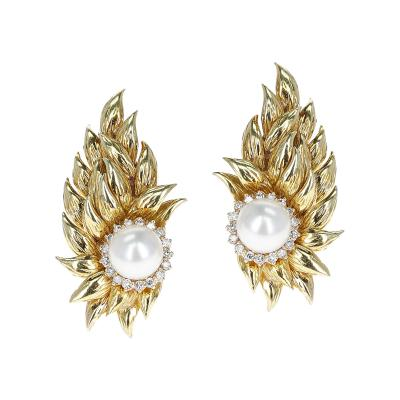 8MM CULTURED PEARL EARRINGS WITH A DIAMOND HALO IN 18K GOLD LEAF STYLE DESIGN
