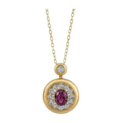 9 14 Carat Rose Zircon and Diamond 18 Karat Yellow and White Gold Pendant
