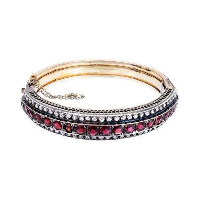 9 50 Carat Victorian Almandine Garnet Diamond Gold Silver Bangle Bracelet
