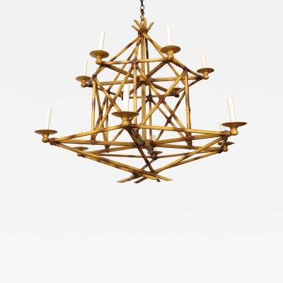 A 12 Light Faux Bamboo Chandelier