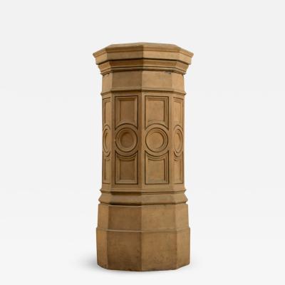 A 19th Century English terracotta pedestal circa 1860