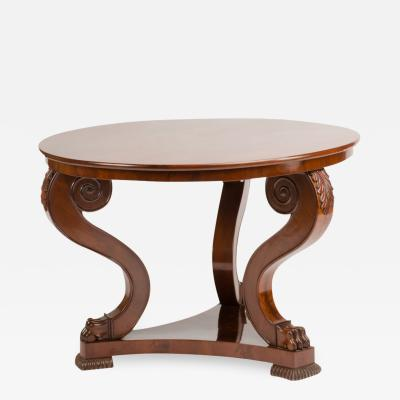 A 19th Century Irish Empire mahogany center table circa 1830