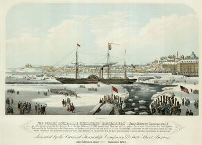 A 19th century view of the harbour of Boston frozen over